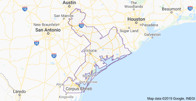 Texas 27th Congressional District Map as of United States Congress 113 with List of US House District's Major Cities & Towns