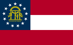 Flag of US State of Georgia atop Georgia's Politics Guide with Governor, US Senators and Representatives linking to PVI lists