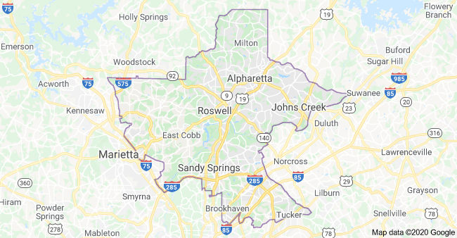 Georgia's Congressional District 6 Map as of Congress 116 with Georgia District's City & Town List plus Partisan Voting Index