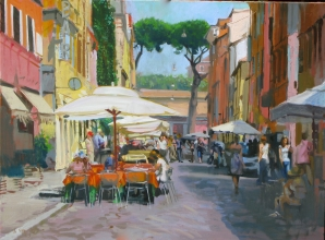 <h5>Café by the Vatican</h5><p>O:L 22 x 25 2009																																																																																																																																																																																																												</p>