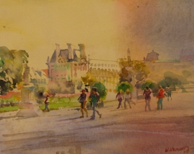 <h5>By the Louvre</h5><p>Watercolor																																																			</p>