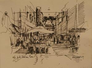 <h5>Café by the Vatican</h5><p>Pen & Ink 9 x 12  2009</p>