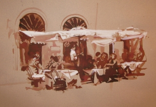 <h5>Roman Café</h5><p>Brush & Wash drawing 12 x 14 2009</p>