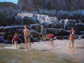 "<h5>Skipping Stones</h5><p>$12,000  Oil on Linen  36"" x 48""																																																																																																																																																																										</p>"
