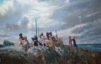 "<h5>Watching the Sea</h5><p>$8,500 Oil on Canvas  24"" x 36""																																																																																																																																																									</p>"