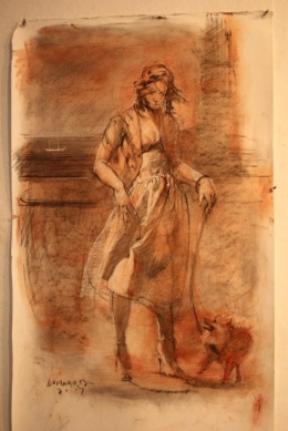 "<h5>The Lady with the Dog (Sketch) </h5><p>Tri-Color sketch 36"" x 24""																																		</p>"