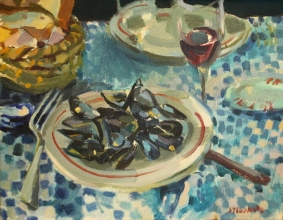 <h5>Moules, Bread and Bordeaux</h5><p>O:L 1965 Private Collection																																																																																																						</p>