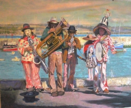 """<h5>Money for Music</h5><p>Price Upon Request Oil on Linen  38"""" x 48""""</p>"""