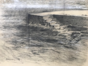 <h5>Adriatic Tide #1</h5><p>Charcoal heightened with white on toned paper 20 x 28 1983</p>