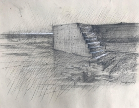 <h5>Adriatic Tide #2</h5><p>Charcoal heightened with white on toned paper 20 x 28 1983</p>