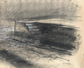 <h5>Adriatic Tide #3</h5><p>Charcoal heightened with white on toned paper 20 x 28 1983</p>