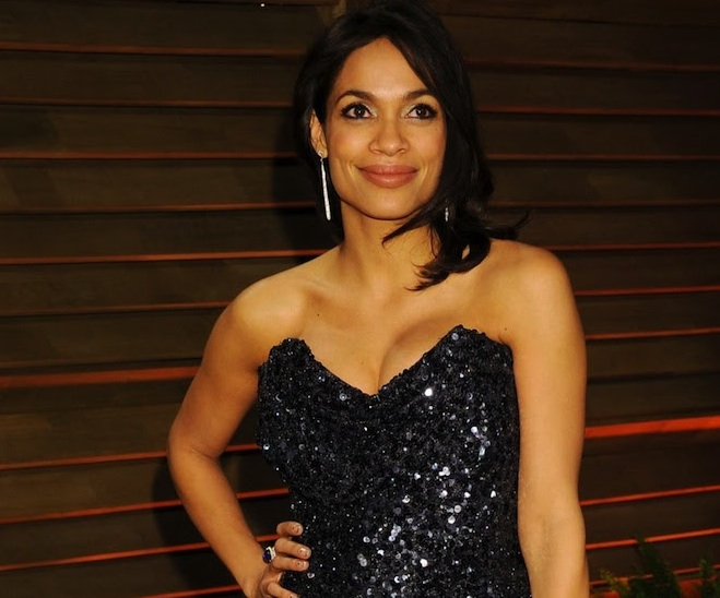Rosario Dawson Wearing Demarco Diamond Earrings at the 2014 Vanity Fair Oscar Party