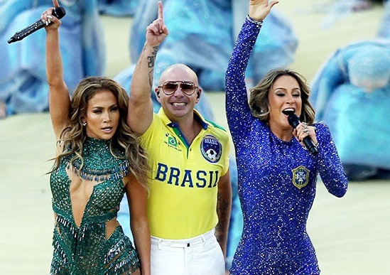 Jennifer Lopez, Pitbull, 2014 FIFA World Cup Soccer polo shirt collection