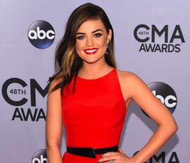 Lucy Hale, Fab Red Dress With Diamond Rings