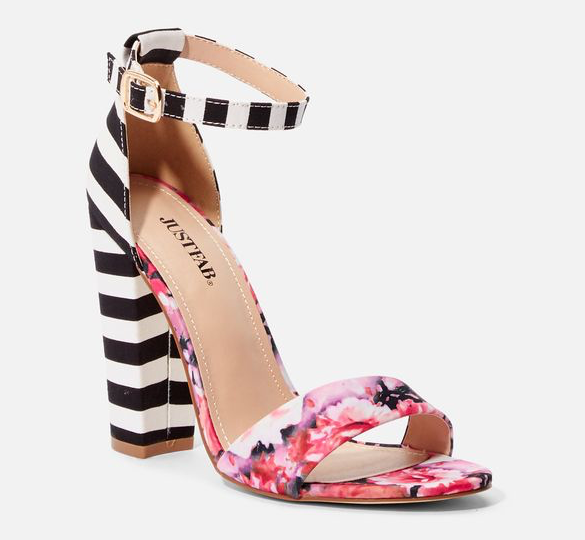 Lena Stripe Heeled Sandal from JustFab Shoes is Hot!