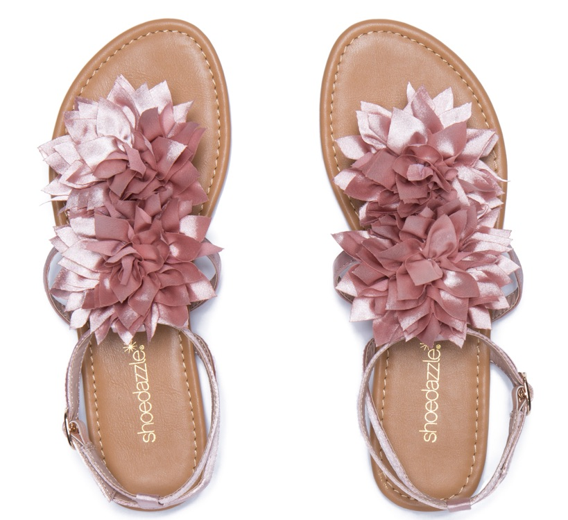 Shoe Dazzle's Catelynn Floral Flat Sandal Perfect To Rock At Coachella