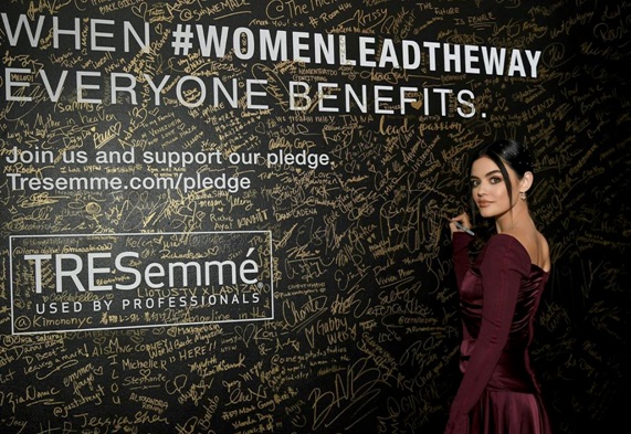 Lucy Hale wear Swarovski to NYFW event