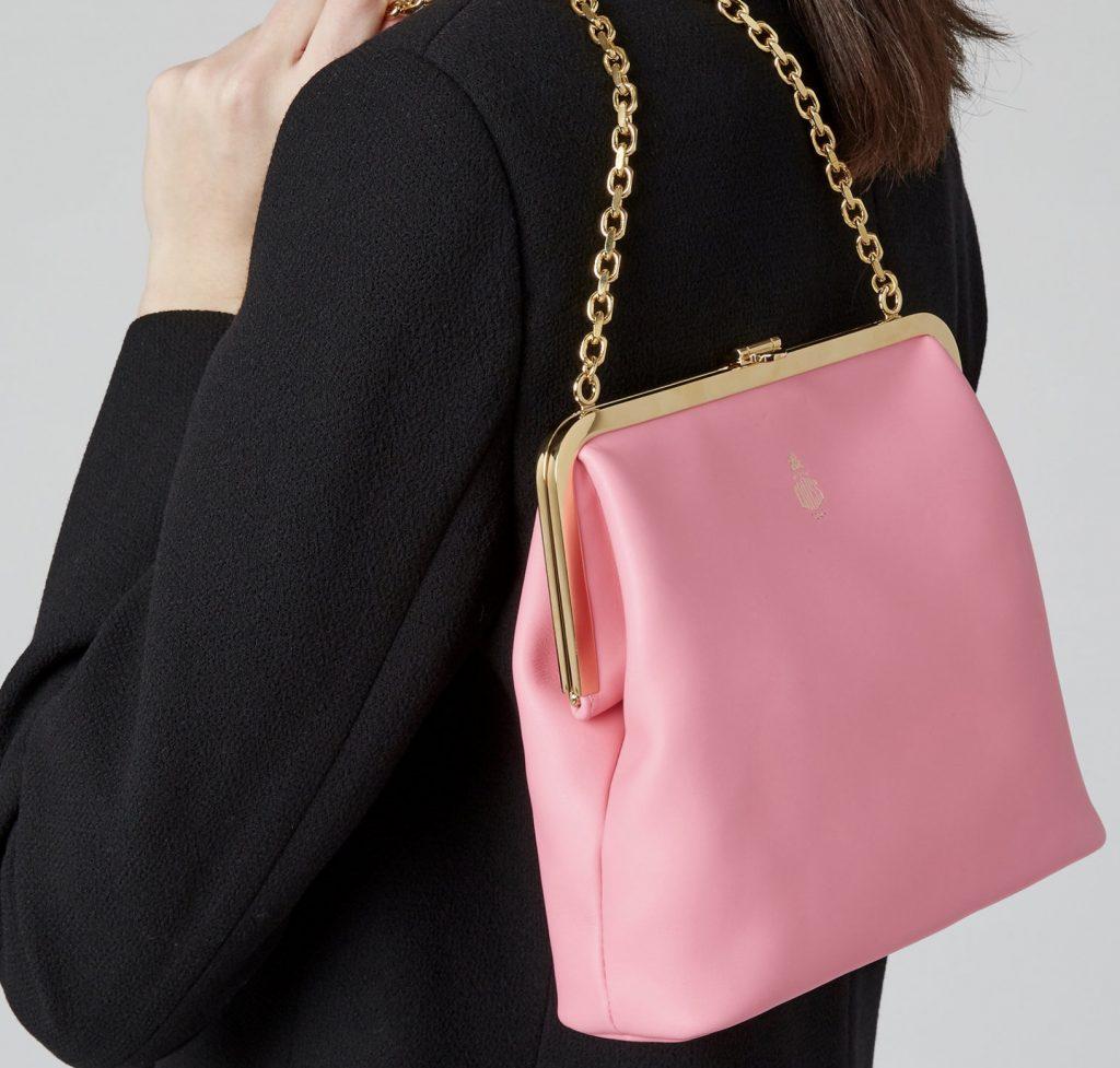Pink Mark Cross Susanna Leather Shoulder Bag