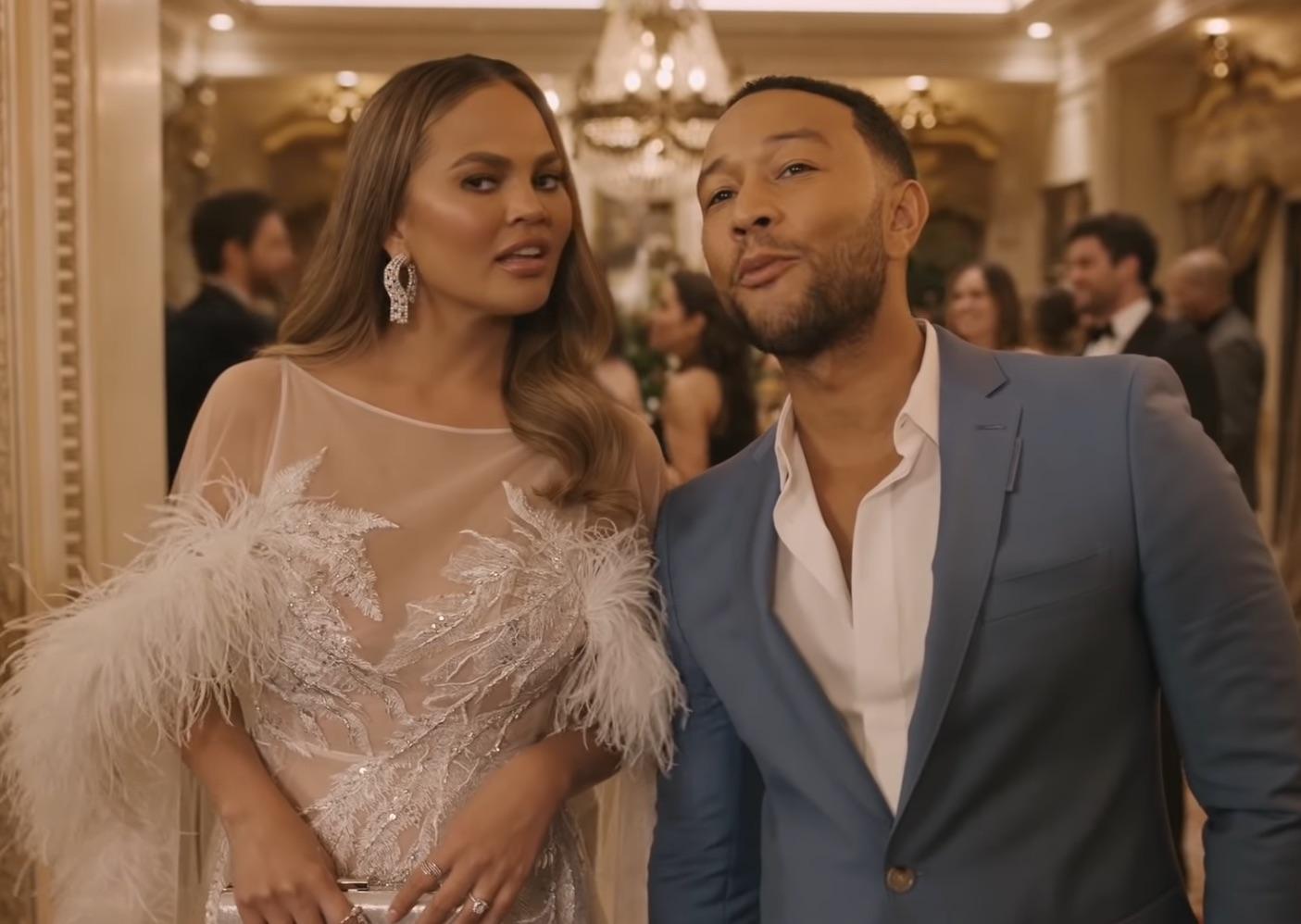 John Legend,Chrissy Teigen,  Super Bowl Glam Style Video
