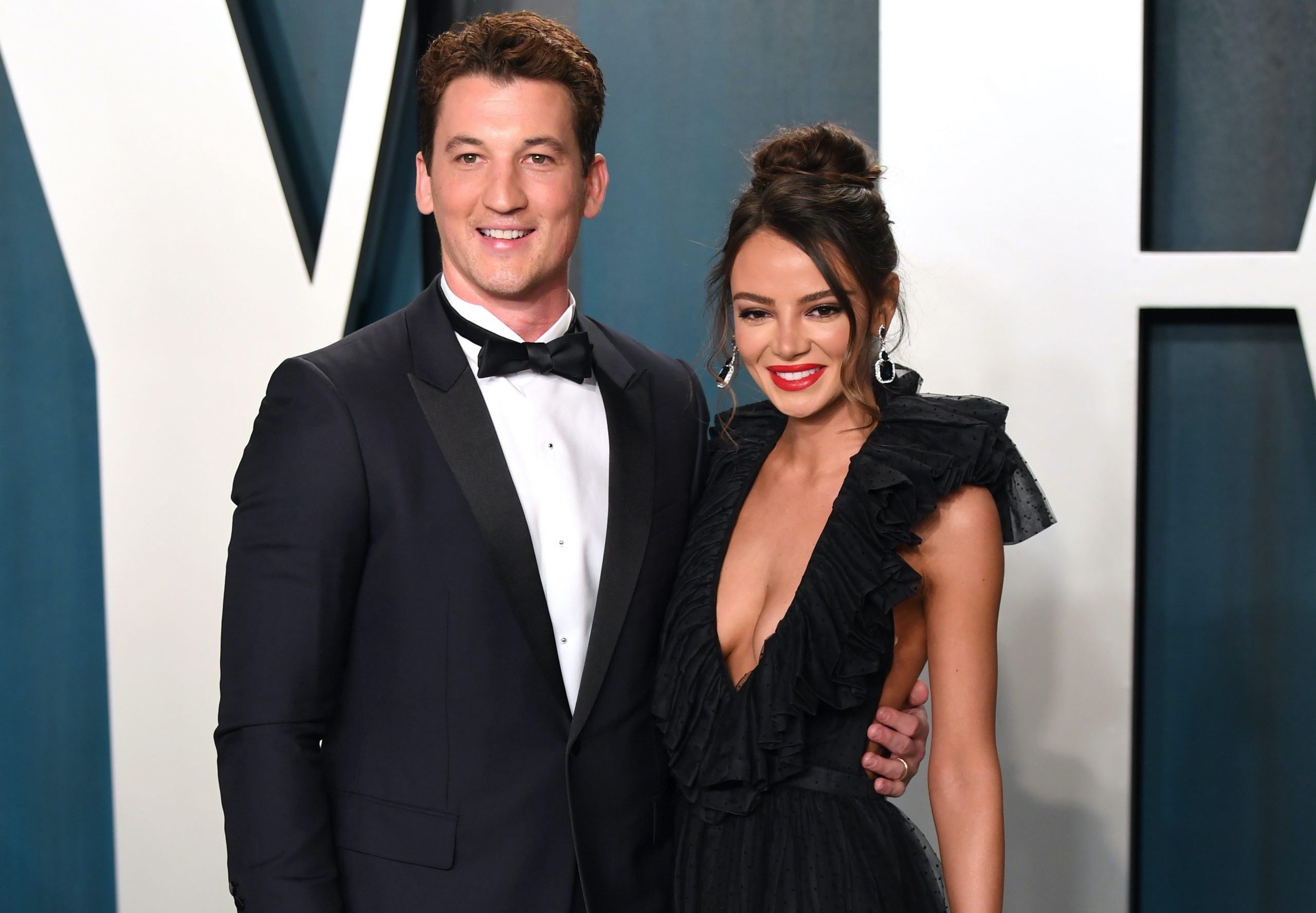 Vanity Fair Oscar Party Star Style Look of Miles Teller w/ Keleigh Sperry