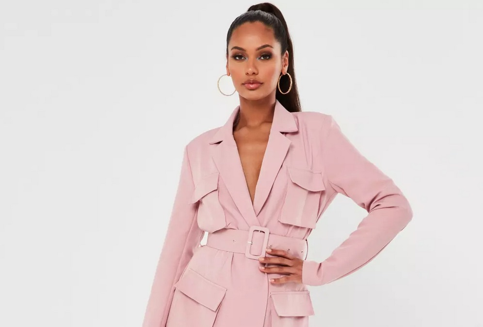 Pink Tailored Utility Blazer Dress That's Hot!