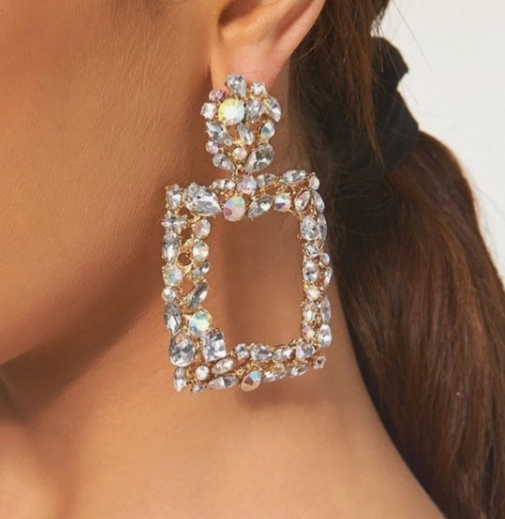 It Girl Crystal Squared Gemstone Earrings, We Adore
