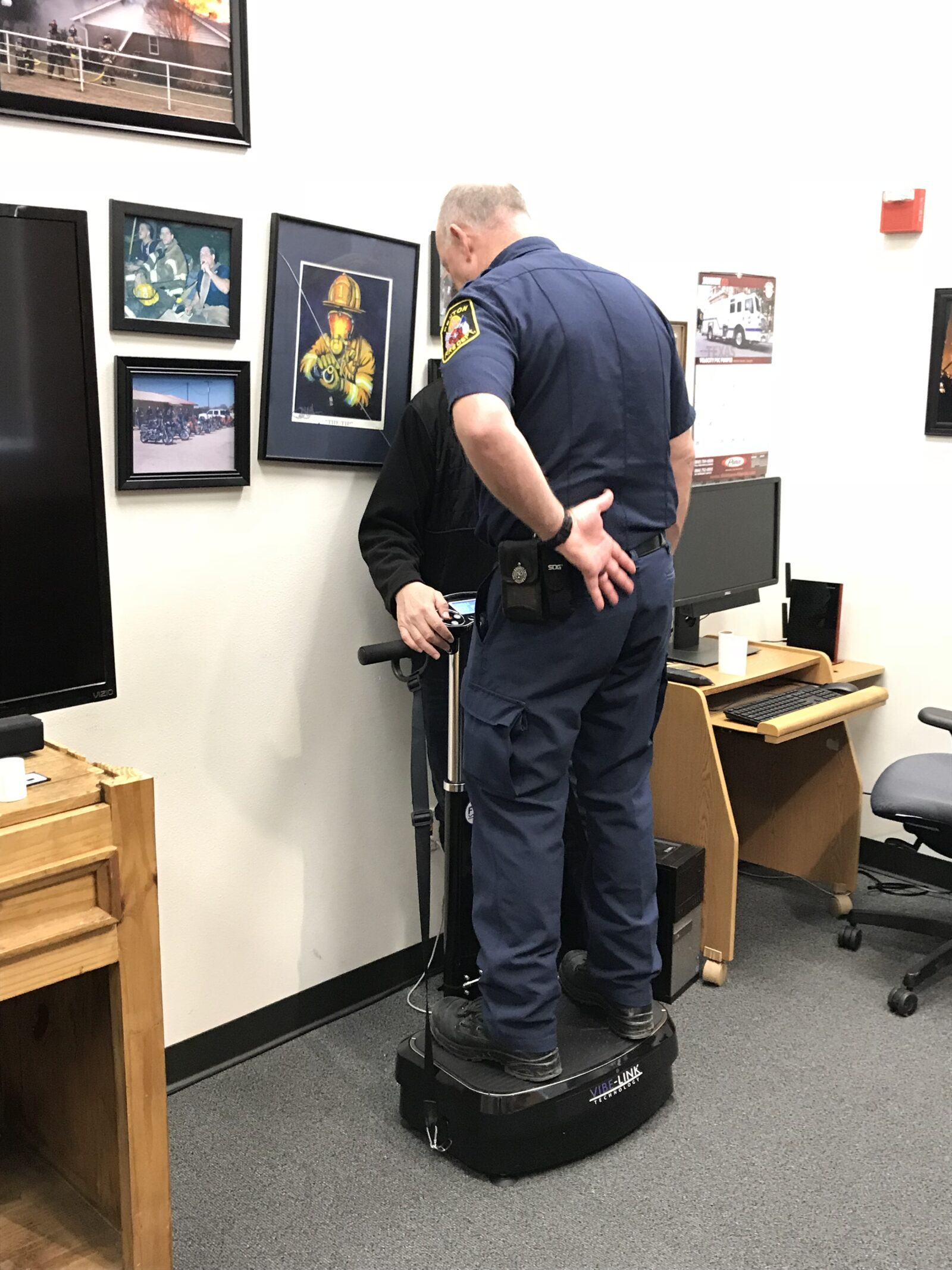 Battalion Chief, David Boots Experiencing Central fire Station's Very Own Vibe-Link Technology!
