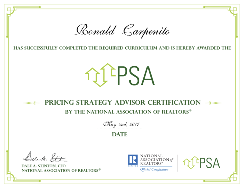Ron Carpenito Earns Certification as Pricing Strategy Advisor