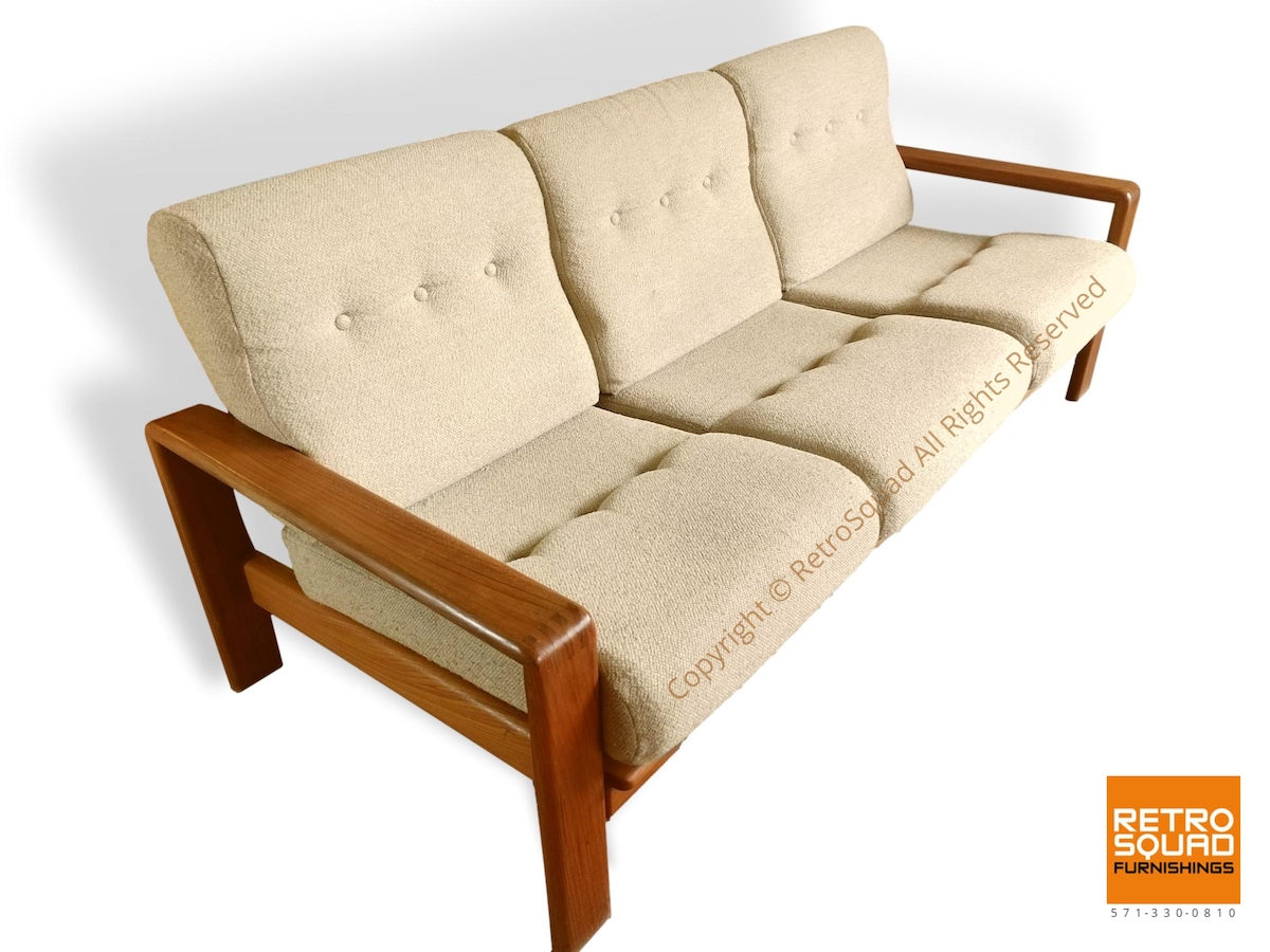 Danish-Modern-Teak-Frame-Sofa-With-Wool-Cushions-in-Excellent-Condition-01