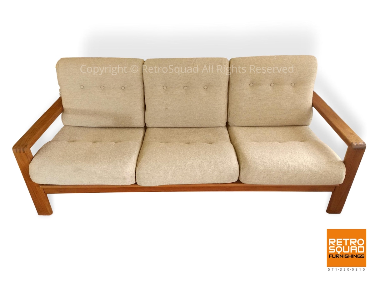 Danish-Modern-Teak-Frame-Sofa-With-Wool-Cushions-in-Excellent-Condition-02