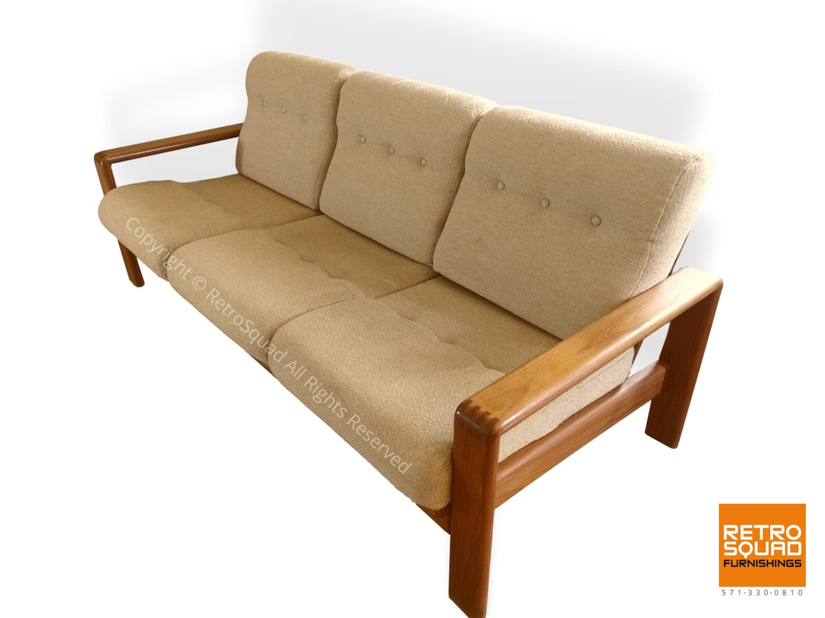 Danish-Modern-Teak-Frame-Sofa-With-Wool-Cushions-in-Excellent-Condition-03