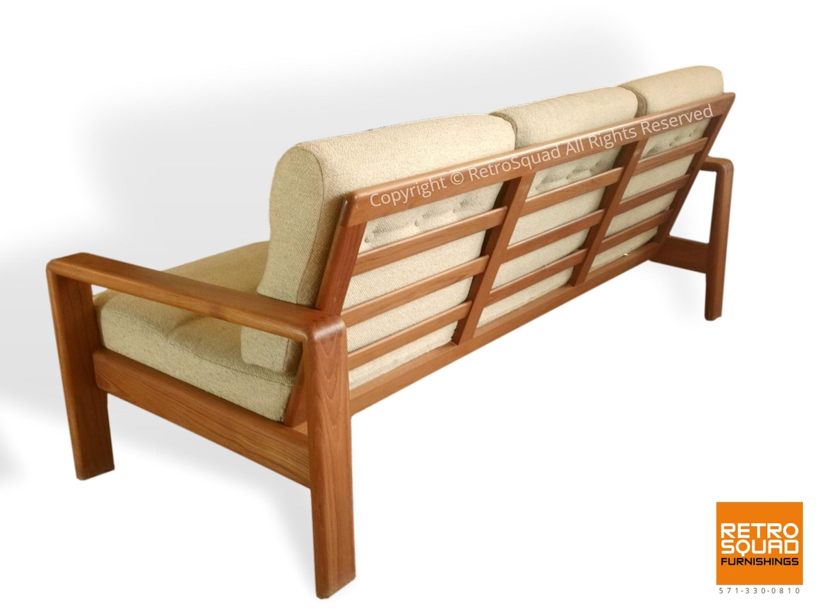 Danish-Modern-Teak-Frame-Sofa-With-Wool-Cushions-in-Excellent-Condition-04