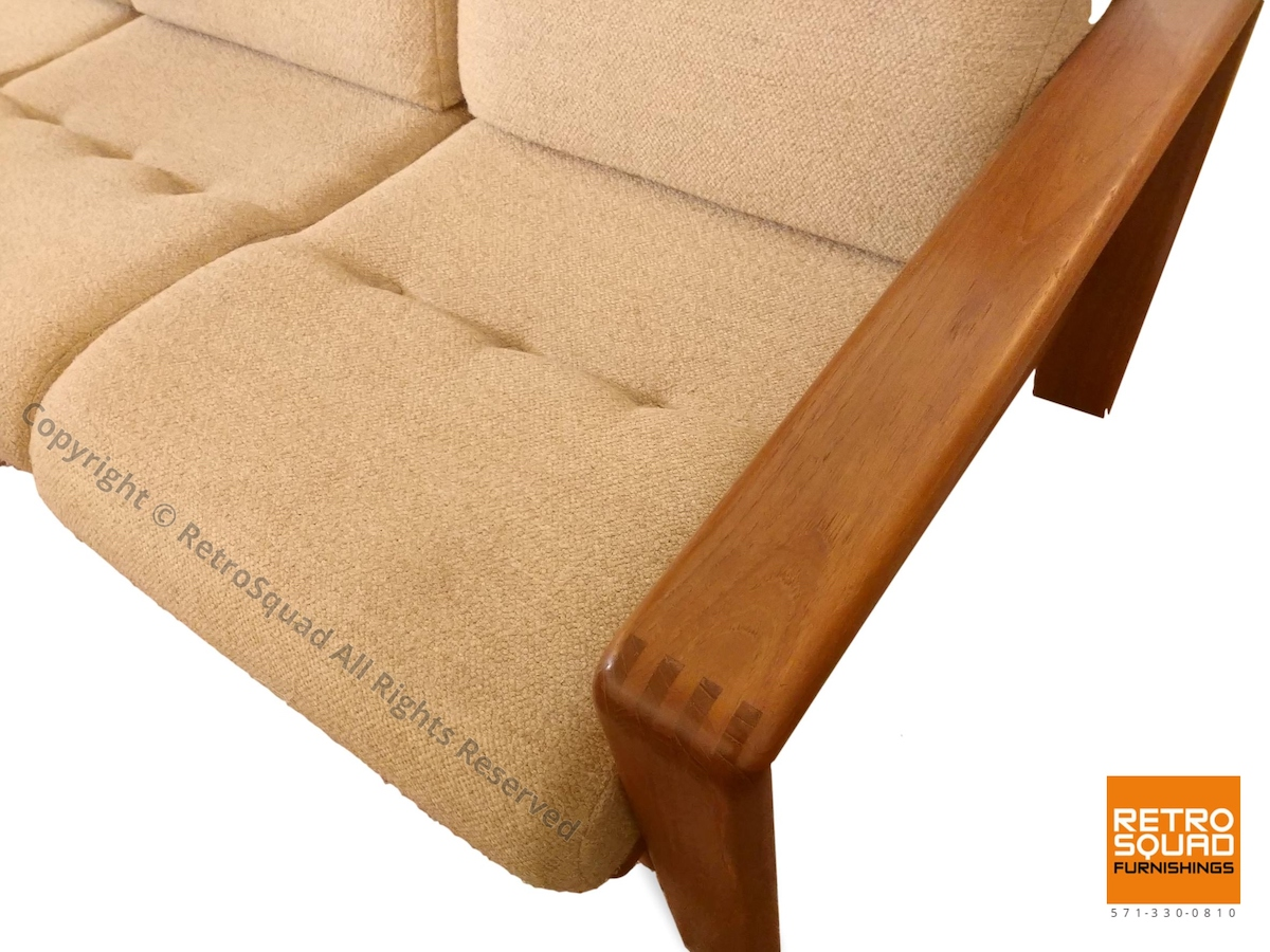 Danish-Modern-Teak-Frame-Sofa-With-Wool-Cushions-in-Excellent-Condition-05