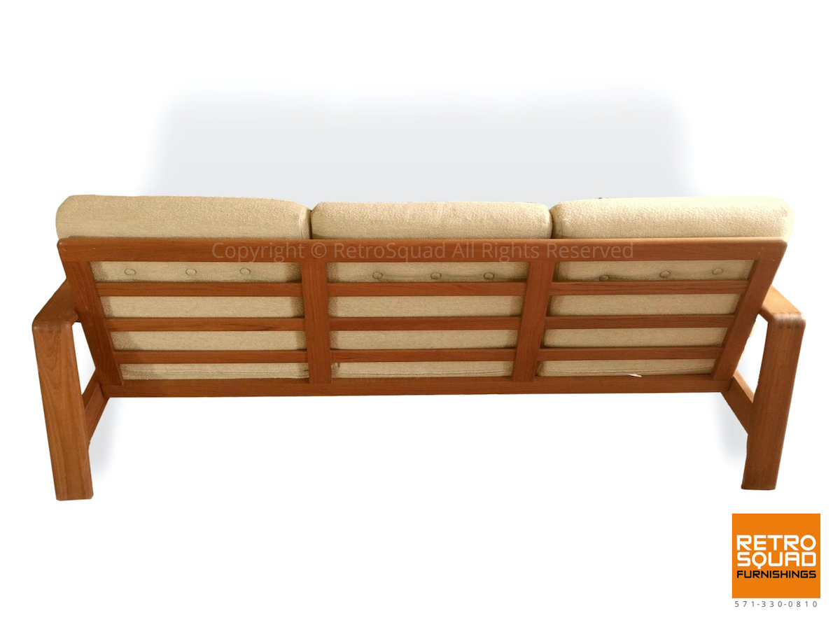 Danish-Modern-Teak-Frame-Sofa-With-Wool-Cushions-in-Excellent-Condition-06