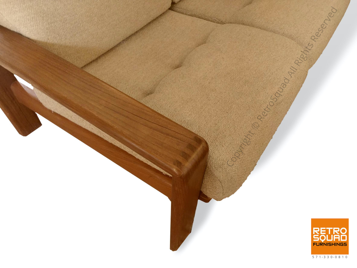Danish-Modern-Teak-Frame-Sofa-With-Wool-Cushions-in-Excellent-Condition-08