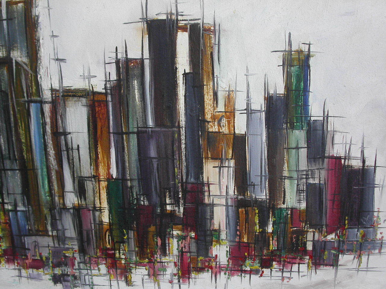 Original Vintage 60s Abstract City Scape Painting 09