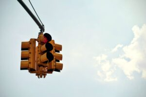 Stoplight with a red light