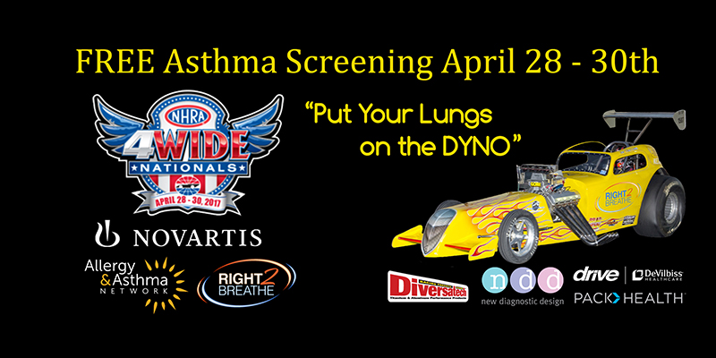 Right2Breathe® and Allergy & Asthma Network Complete 450+ Free Asthma Screenings during NHRA Four-Wide Nationals