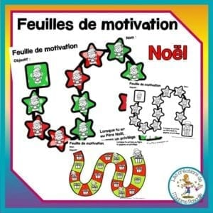 Feuille de motivation ou feuilles de route pour stimuler les enfants à avoir un bon comportement sur le thème de Noël Tracking sheet or reward tracker to help kid to get a better behavior. Christmas theme.