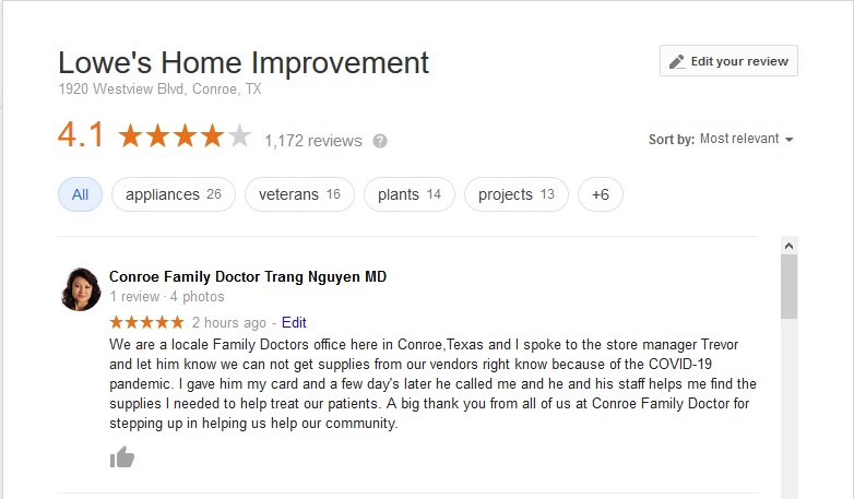 Blog Conroe Family Doctor Giving Lowe S In Conroe Tx A 5 Star Review Conroe Family Doctor
