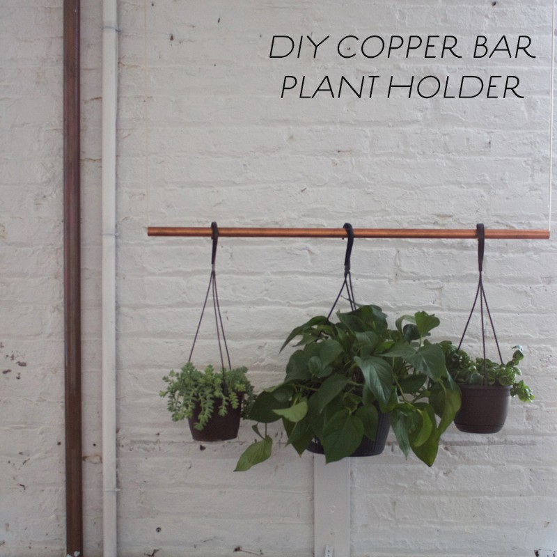 DIY copper bar plant holder