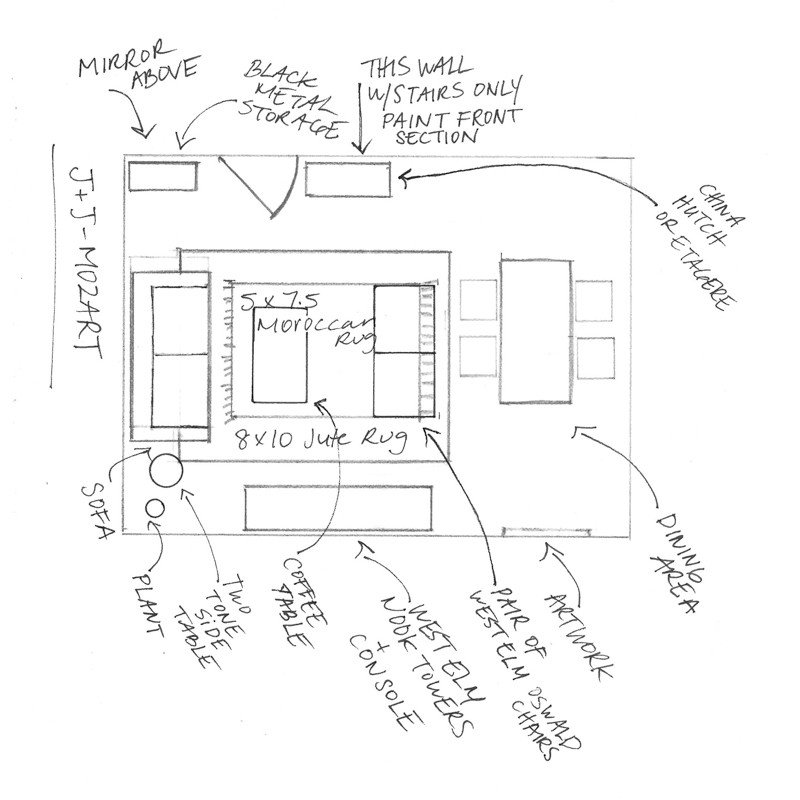 Quick hand sketch of the suggested floor plan.