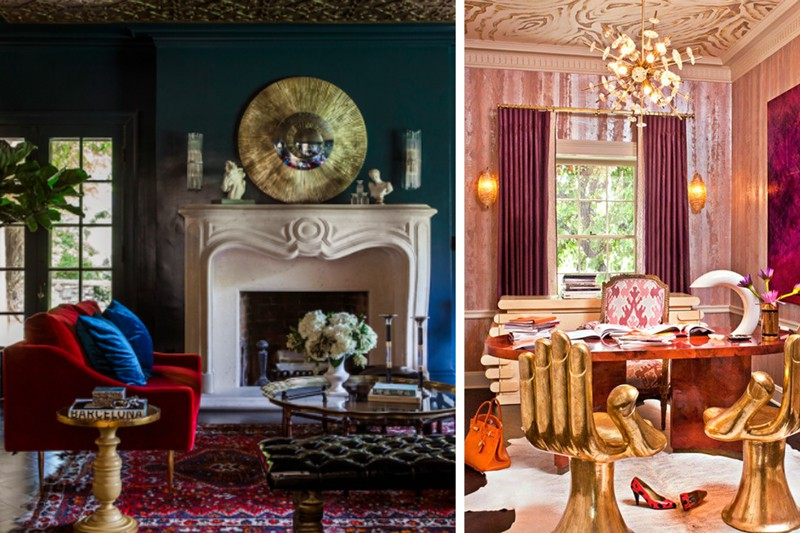 Room on the left by House of Honey, room on the right by Kelly Wearstler.
