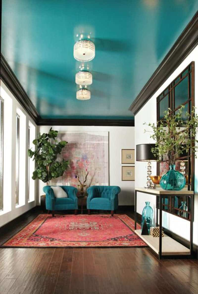 teal-painted-ceiling-decorating with teal