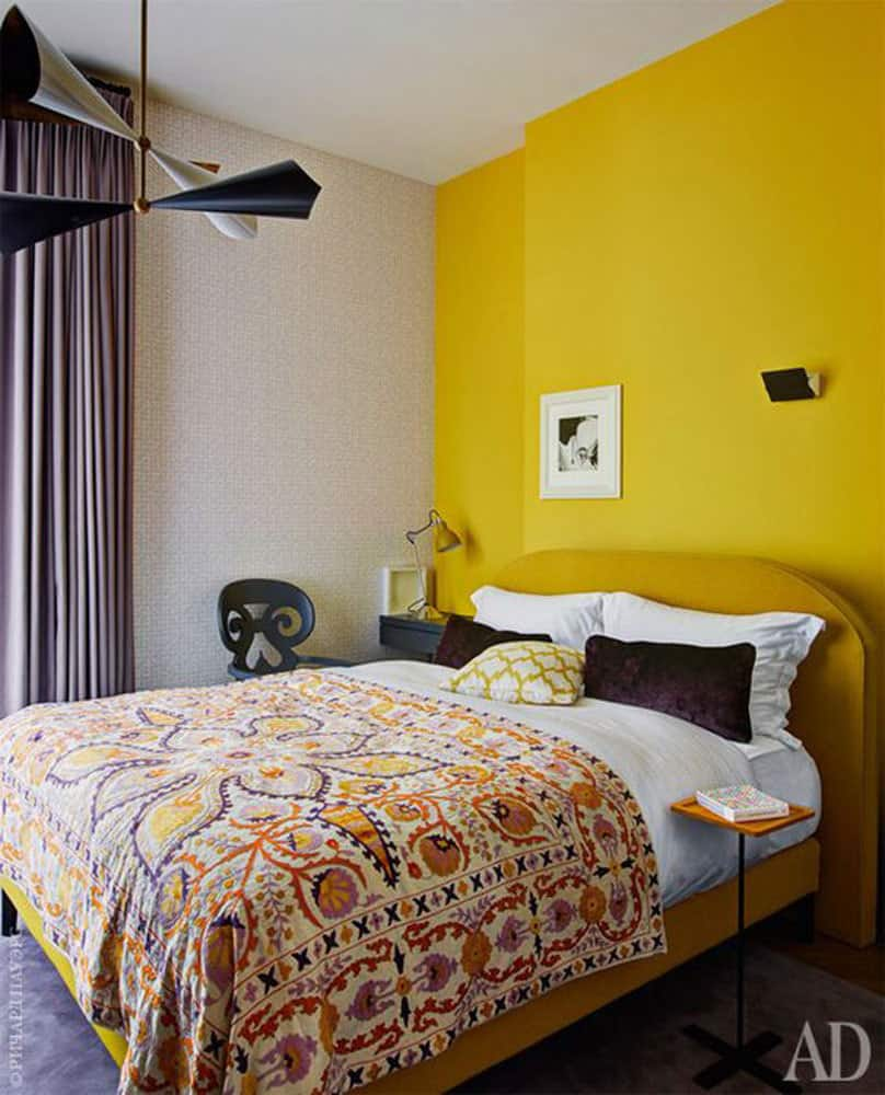 painted-yellow-accent-wall