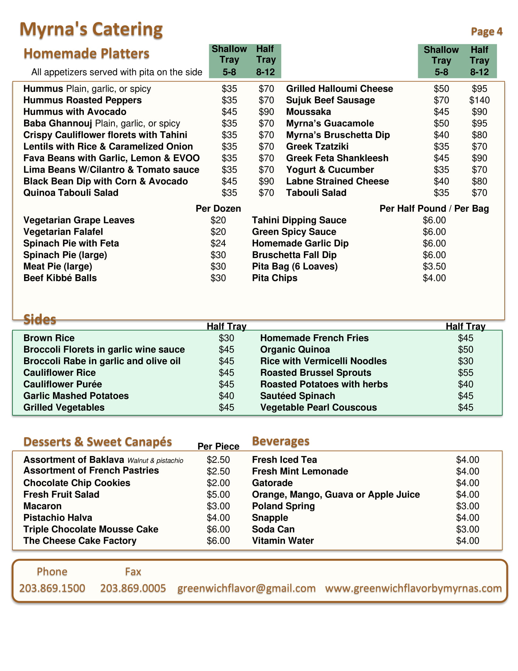 Online Catering Menu Of Greenwich Flavor by Myrna's