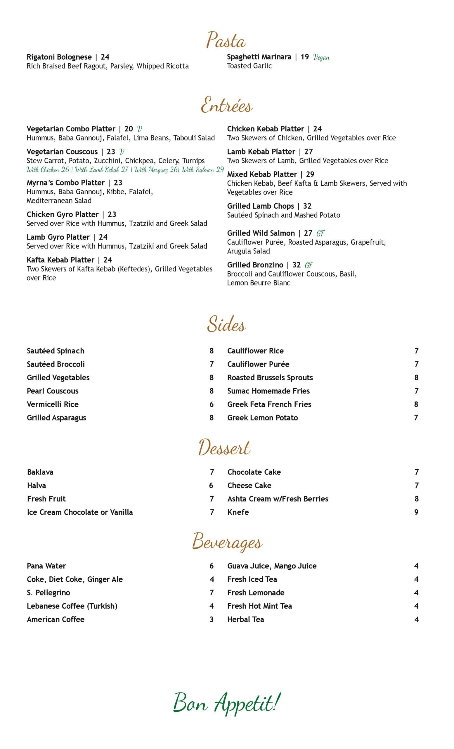 Dine in Menu of Greenwich Flavor by Myrna's