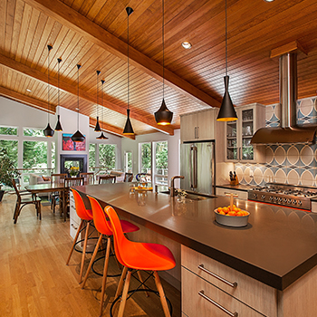 Geddes Ravine Kitchen to Living