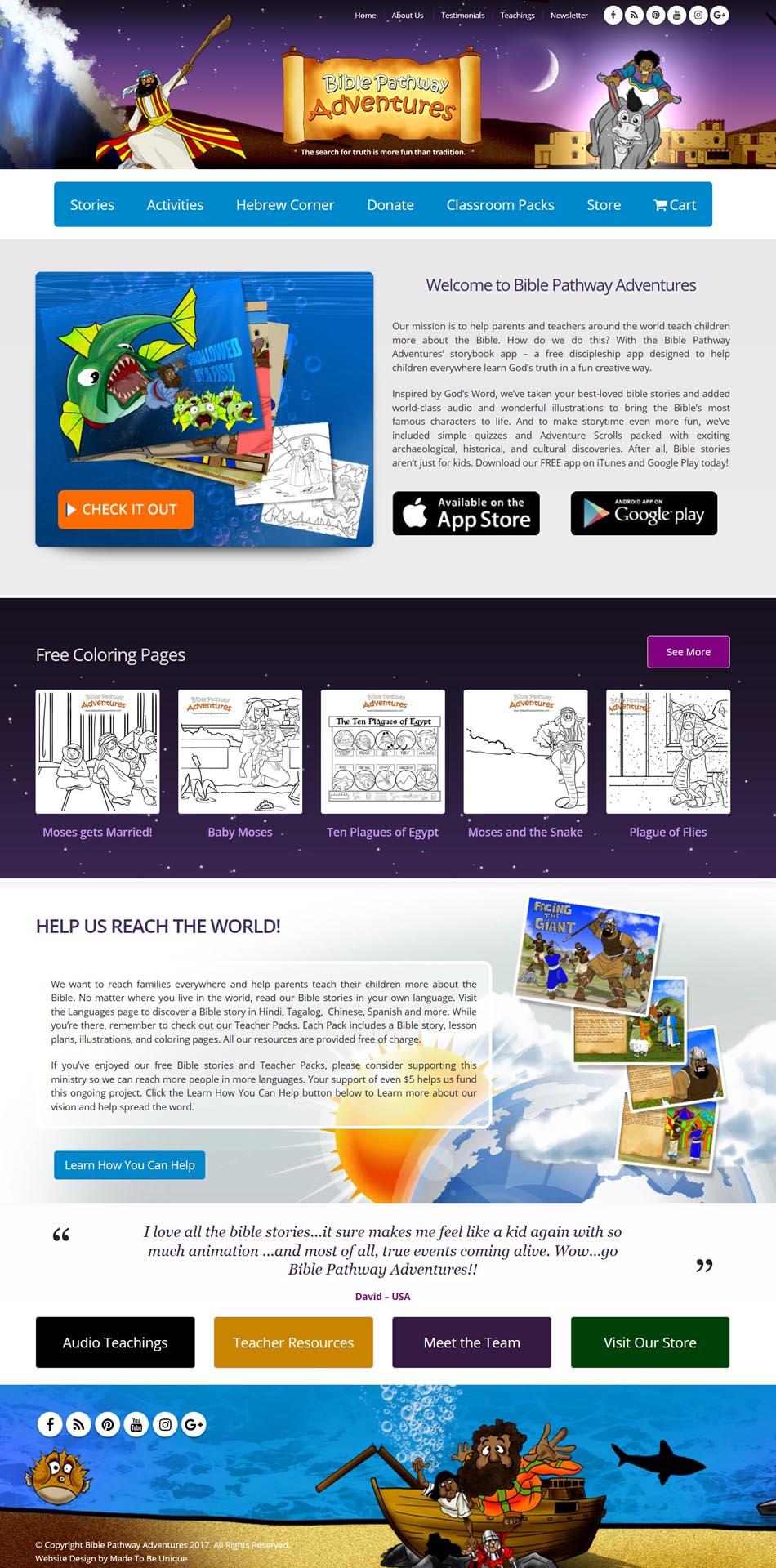 Website Design  |  Bible Pathway Adventures