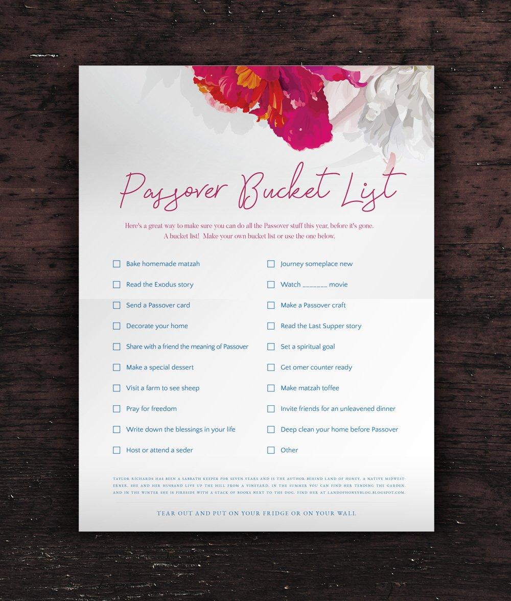 Custom Checklist Poster Design | Passover Bucket List